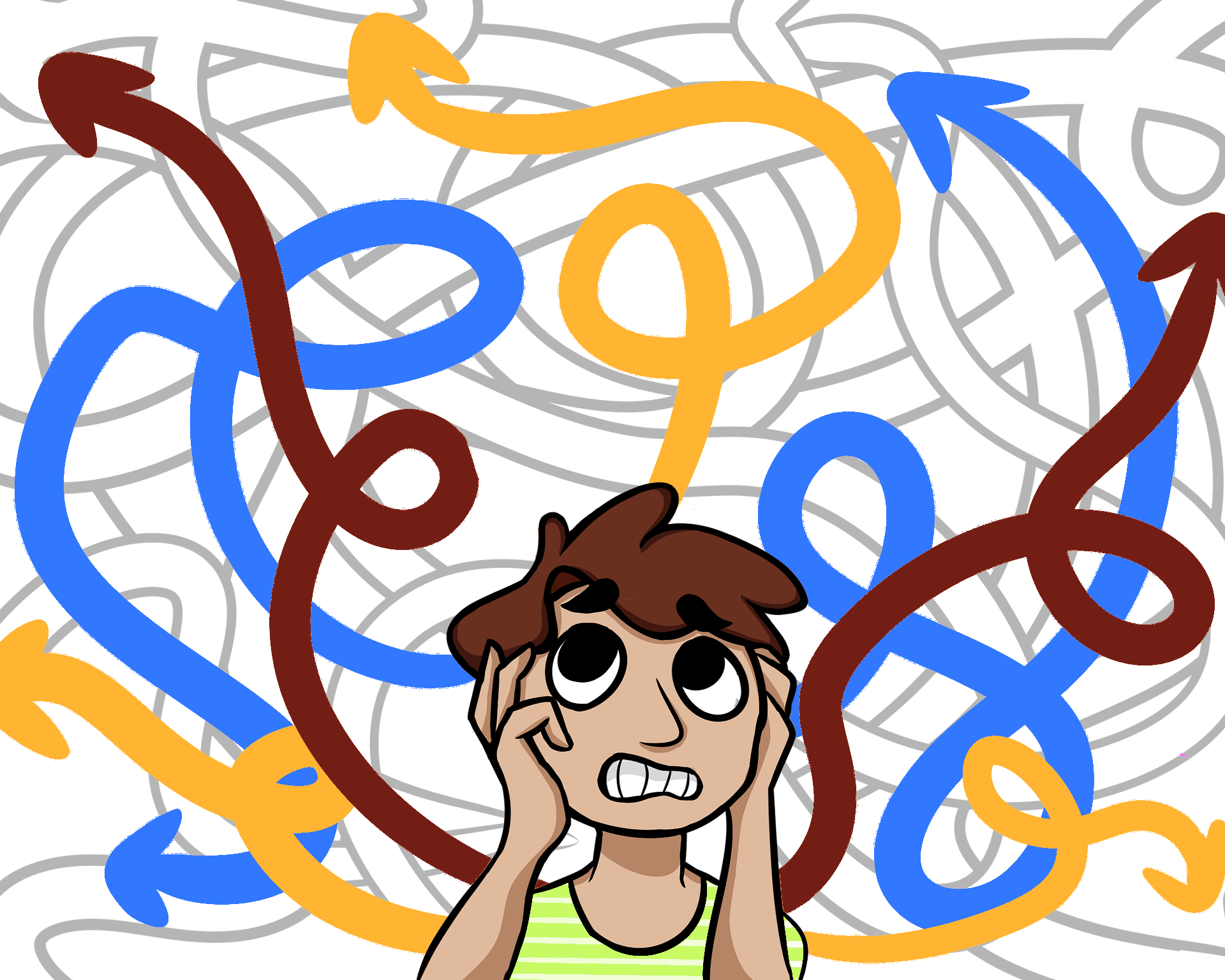 Person surrounded by many confusing coloured arrows